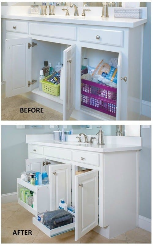 organize bathroom cabinets use tiered sliding shelves to organize
