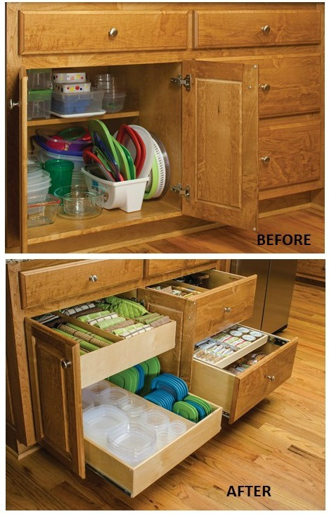 Remodelaholic convenient and space saving cabinet Organizing kitchen cabinets and drawers