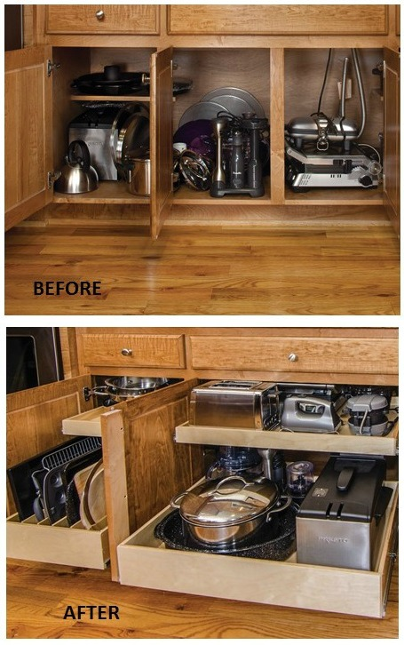 Organizing Kitchen Cabinets - sliding shelving for appliances and pans