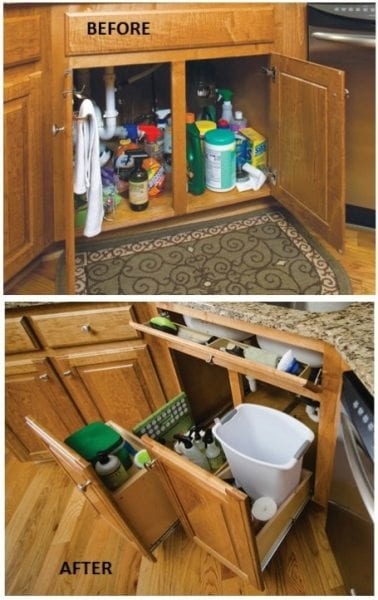 Organizing Kitchen Cabinets - use pull-out cabinets with tiered organizers to tidy up under the sink