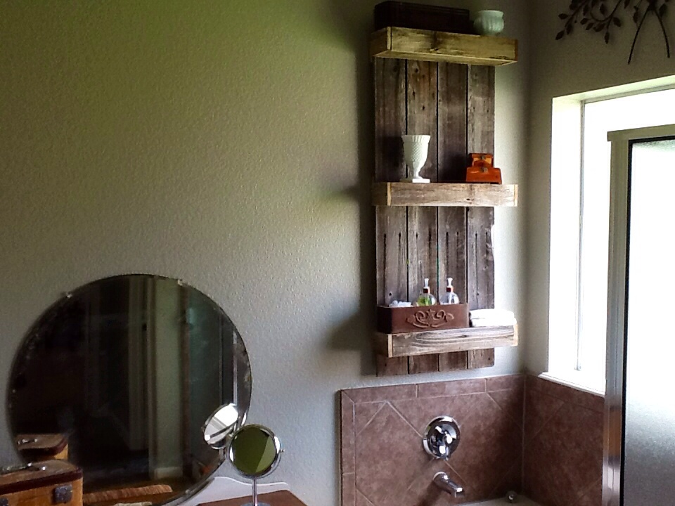 Rustic Bathroom Shelf Created From Weathered Wood By The Weekend Country Featured On Remodelaholic
