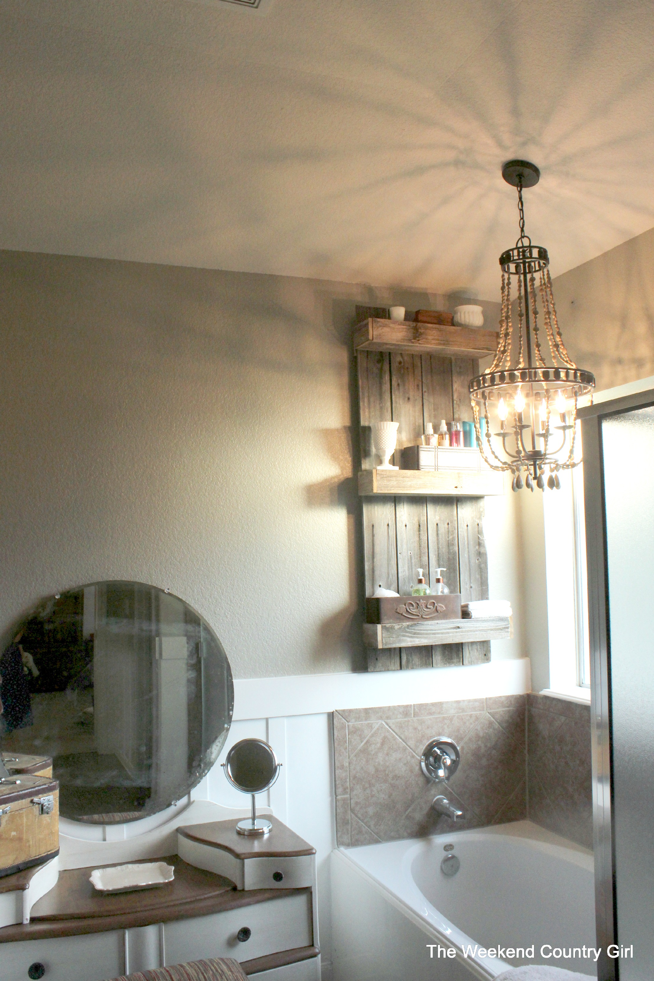 Easy Rustic Bathroom Shelf How To By Karen Of The Weekend Country