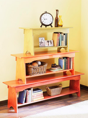stacked bench bookshelf BHG