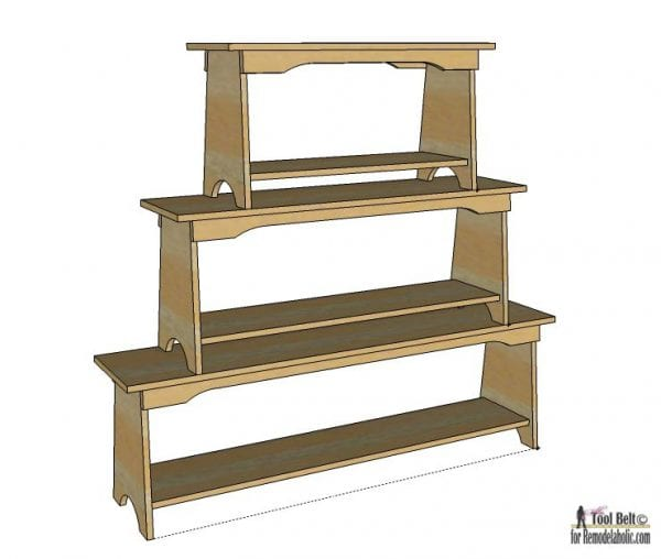 DIY bench plans that can be used to make a unique stacked bench bookshelf.