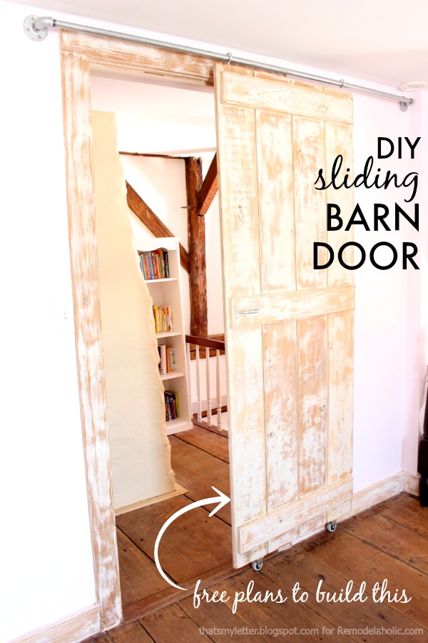 remodelaholic diy sliding barn door inexpensive hardware. Black Bedroom Furniture Sets. Home Design Ideas