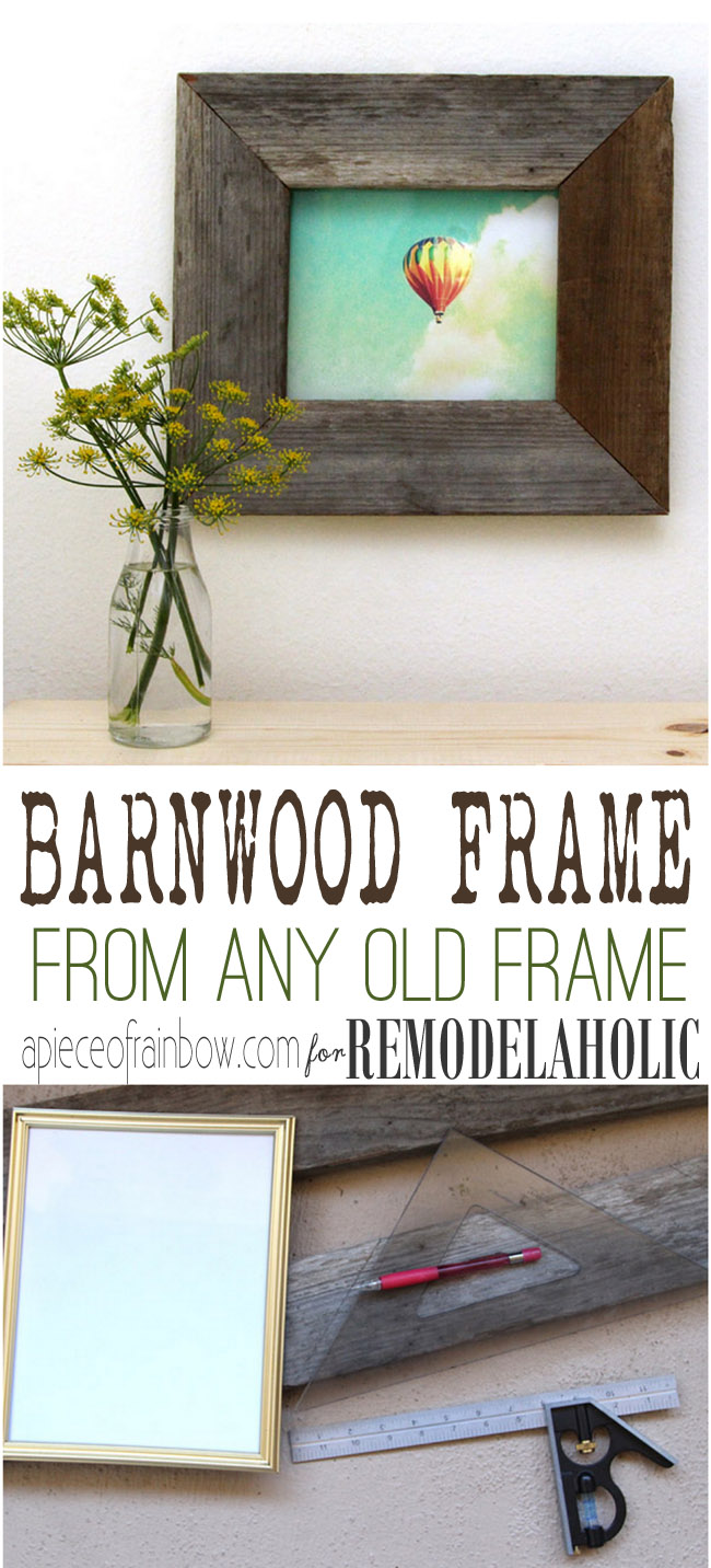 Remodelaholic easy barn wood frame from an old picture frame turn a regular photo frame into a reclaimed barn wood photo frame so easy jeuxipadfo Gallery