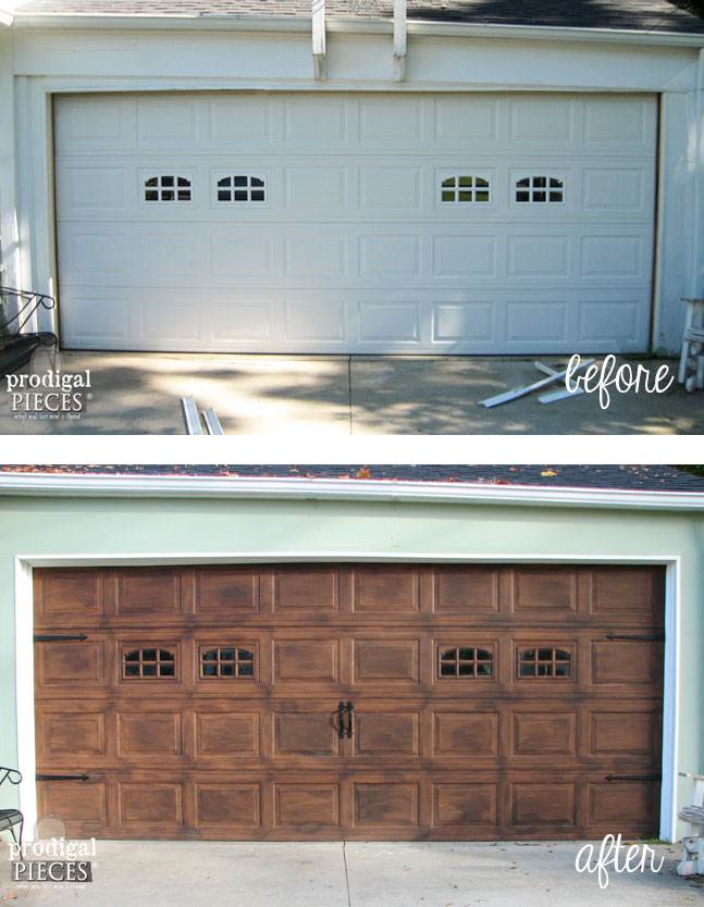 Faux wood carriage garage door tutorial remodelaholic Faux wood garage door paint