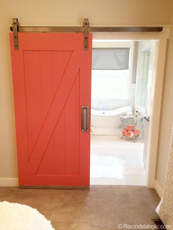 coral barn door uv parade of homes via remodelaholic