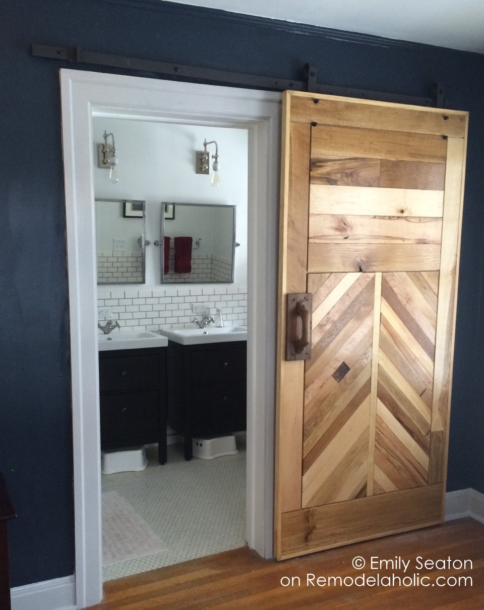 Remodelaholic | How to Build a Wood Chevron Barn Door