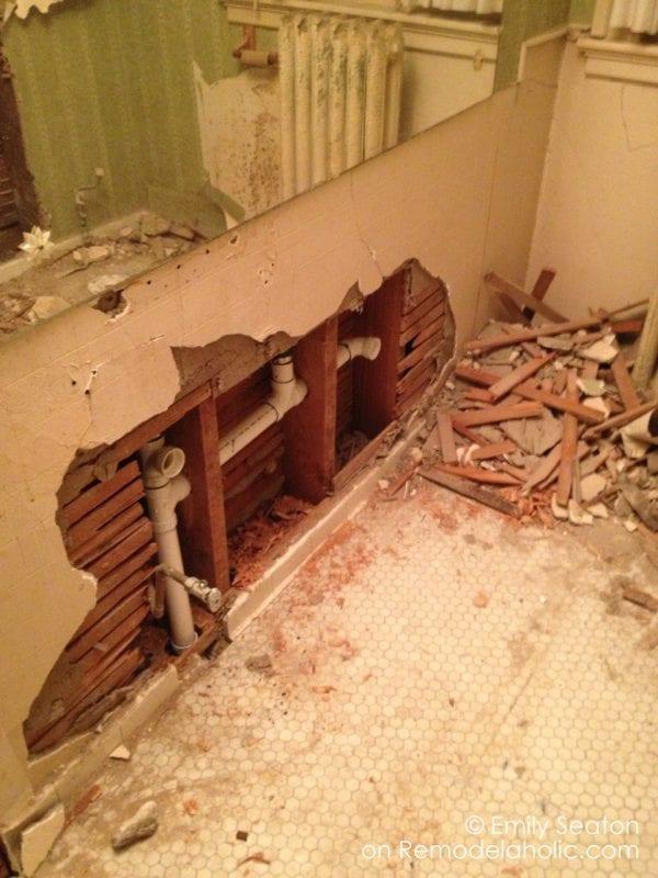 boys' bathroom remodel with original tile