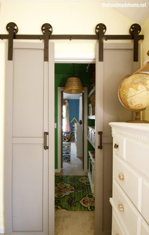 Remodelaholic 35 diy barn doors rolling door hardware for Small double barn doors