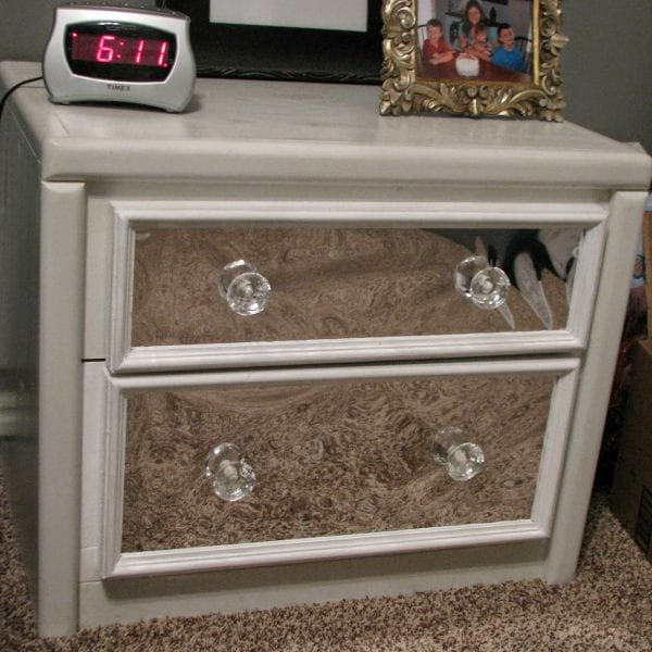 Remodelaholic budget friendly diys march link party for How to make a mirrored nightstand diy