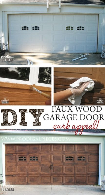 Remodelaholic faux wood carriage garage door tutorial for Build carriage garage doors