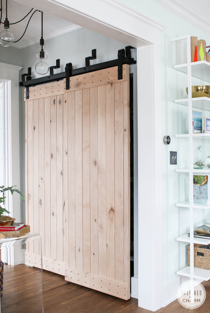 french sliding doors with barn door style hardware
