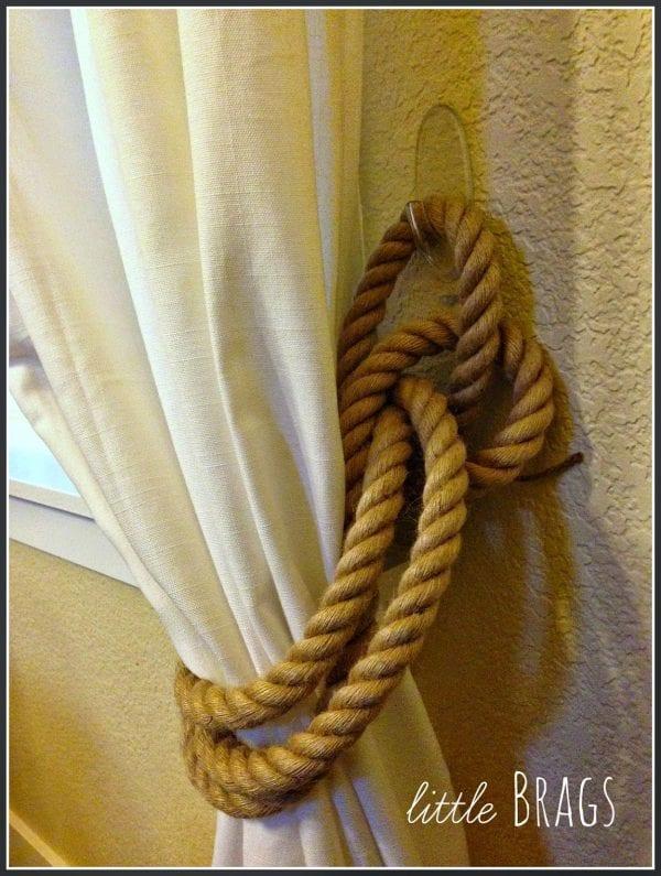 easy diy rope curtain tie backs Little Brags