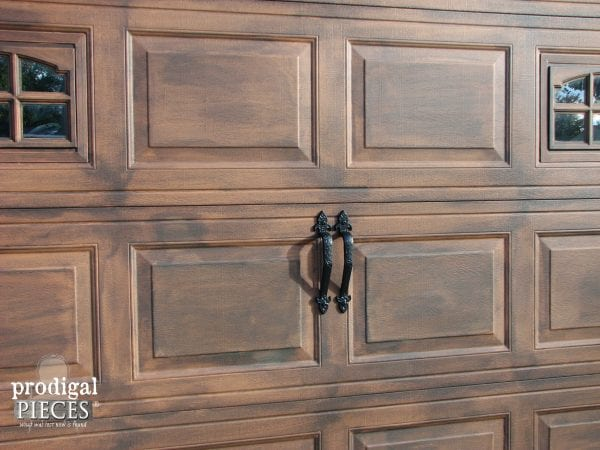 Remodelaholic faux wood carriage garage door tutorial for Faux wood garage doors