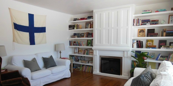 Built-In Fireplace Surround and Shelving with Hidden TV Nook