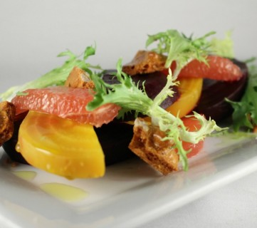 Citrus Beets with Walnut Brittle
