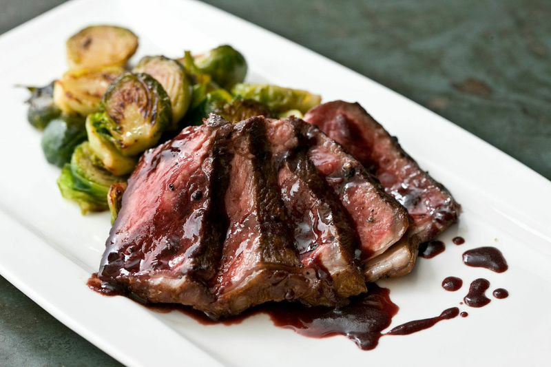 Seared Pepper Steak with Caramelized Brussels Sprouts