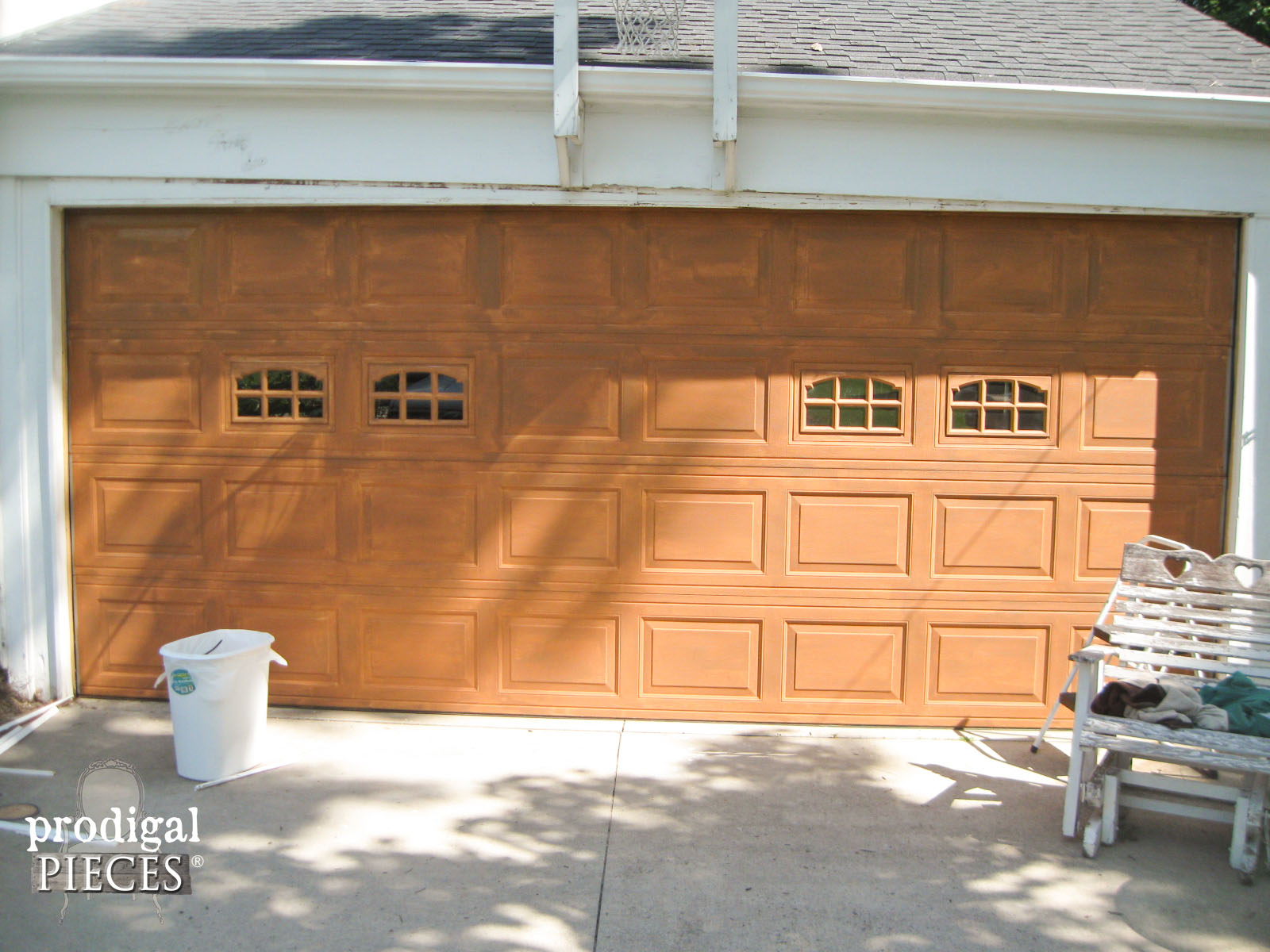 Faux wood painted garage doors - Garage First Paint Layer