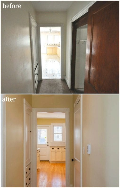 kitchen hallway before and after update and renovation - SoPo Cottage on @Remodelaholic