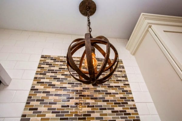 modern orb chandelier in renovated kitchen - SoPo Cottage on @Remodelaholic