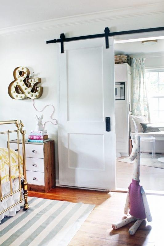 sliding barn door hung using $150 hardware store kit - The Hunted Interior