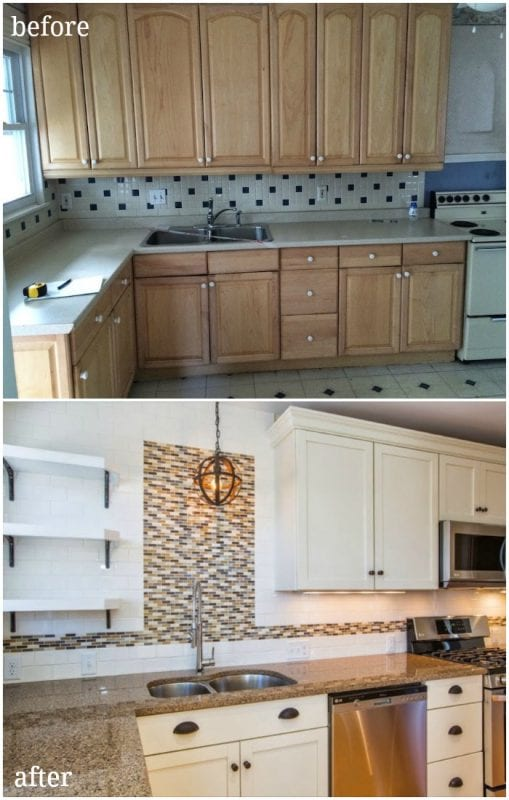 updated duplex kitchen with traditional contemporary style open shelving creamy white cabinets stainless steel before and after - SoPo Cottage on @Remodelaholic