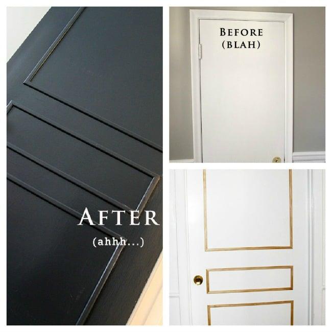3 panel door from flat door via Babble & Remodelaholic | 40+ Ways to Update Flat Doors and Bifold Doors