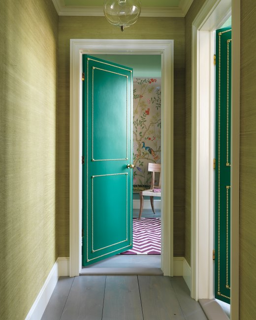 Beautiful Doors - DIY painted door with nailhead trim via Martha Stewart
