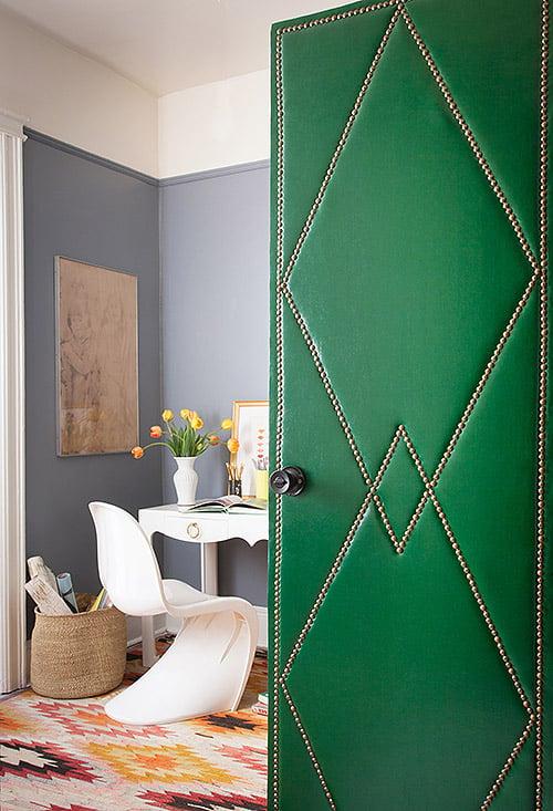 Beautiful Doors - diy green upholstered leather door with nailhead trim via Design Sponge