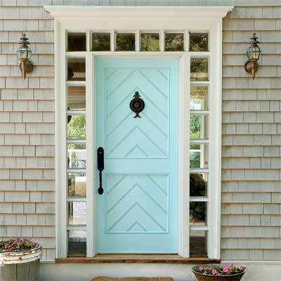 beautiful doors entry door with herringbone accent in behr cool jazz via this old house