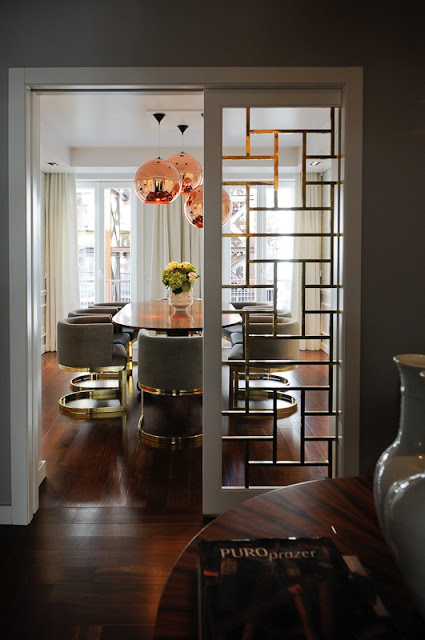 Beautiful Doors - gold fretwork pocket door via South Shore Decorating