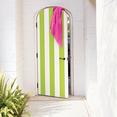 Beautiful Doors - lime green striped door via Coastal Living