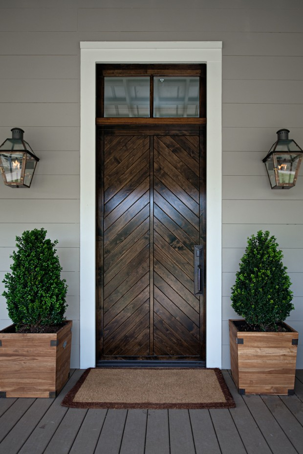 Beautiful Doors Split Chevron Wood Front Door Via Style Blueprint