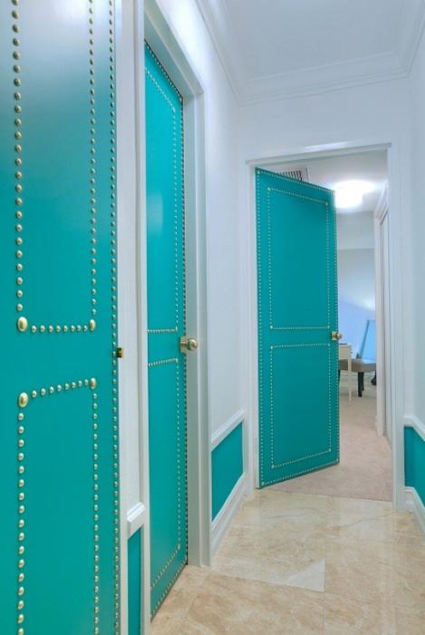 Beautiful Doors - turquoise nailhead metal trim doors via Addicted 2 Decorating