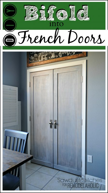 Builder basic bifold door makeover, into stylish French doors - tutorial from Sawdust2Stitches on Remodelaholic.com