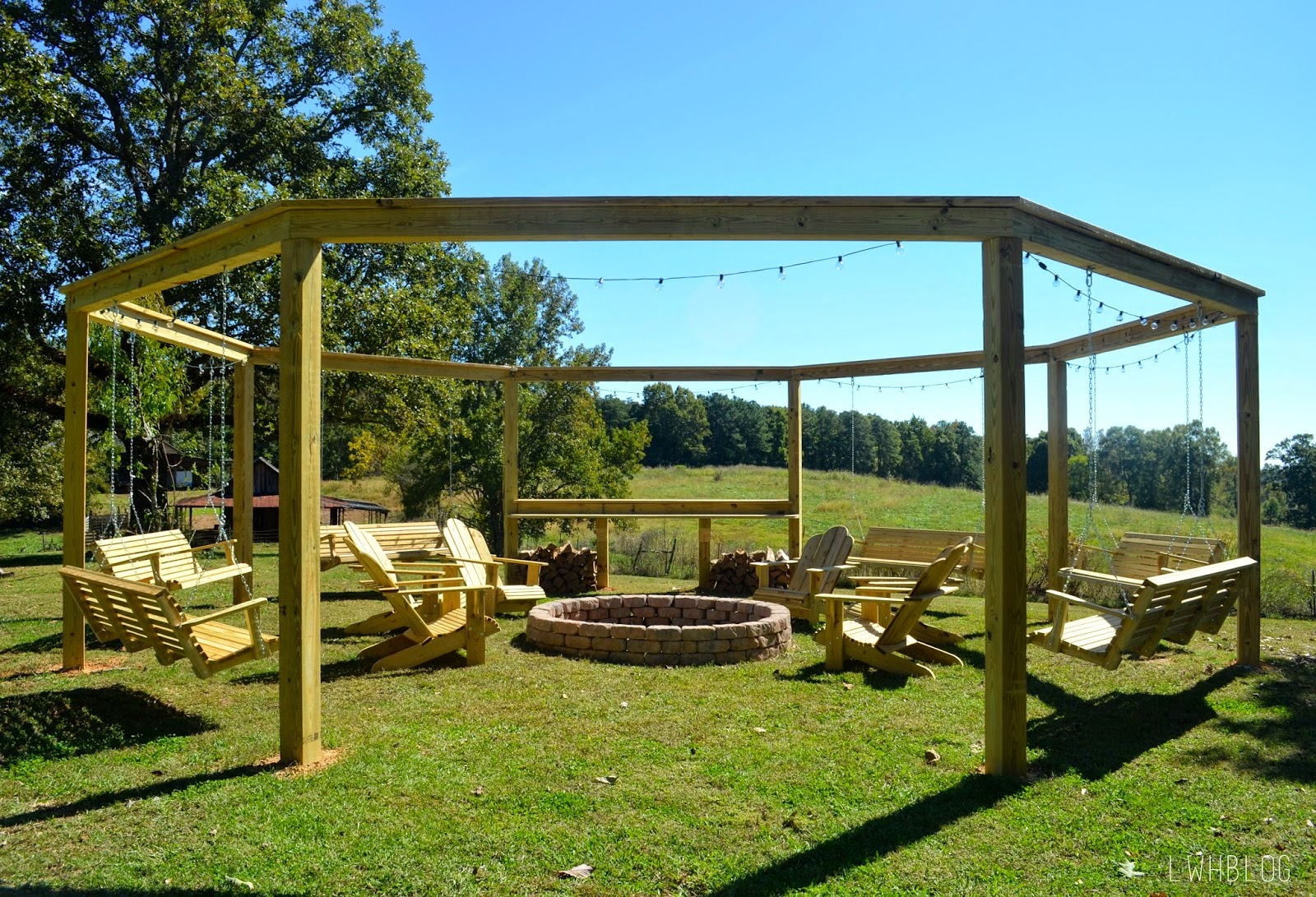remodelaholic tutorial build an amazing diy pergola and firepit with swings. Black Bedroom Furniture Sets. Home Design Ideas