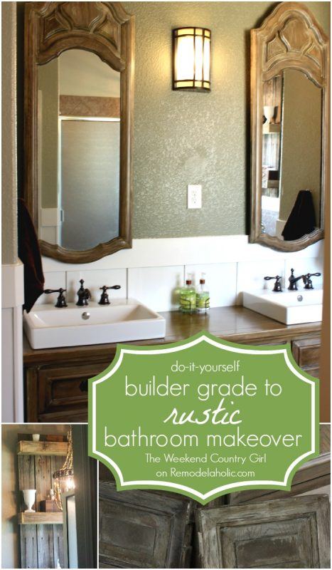 DIY Builder Grade to Rustic Bathroom Makeover with reclaimed wood shelving, faux weathered wood vanity, and chandelier @Remodelaholic