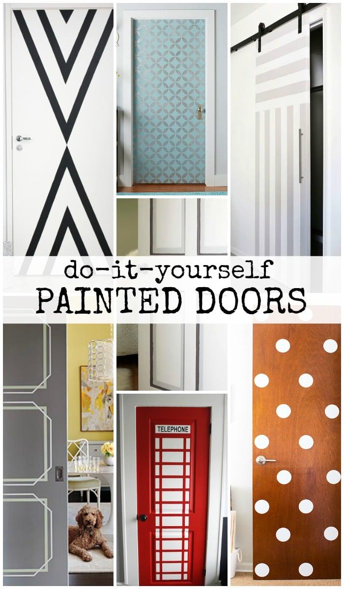 DIY Painted Door Ideas @Remodelaholic & Remodelaholic | 40+ Ways to Update Flat Doors and Bifold Doors pezcame.com