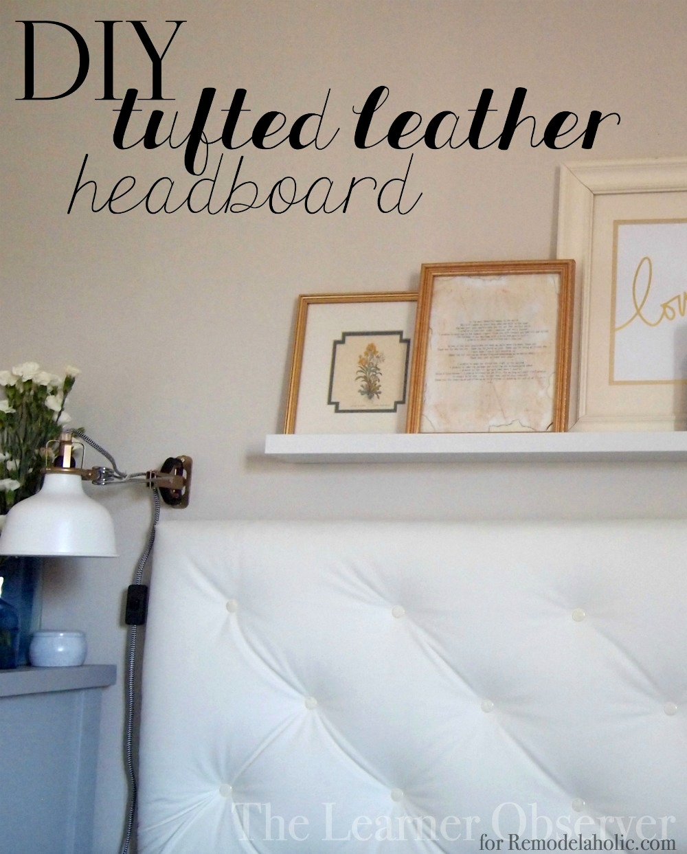 diy tufted leather headboard tutorial