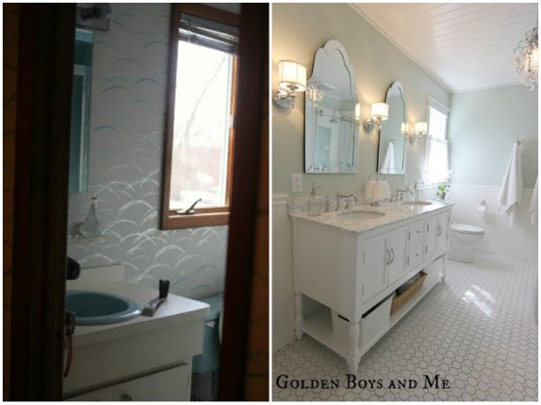 Elegant bathroom before and after - Golden Boys and Me on @Remodelaholic