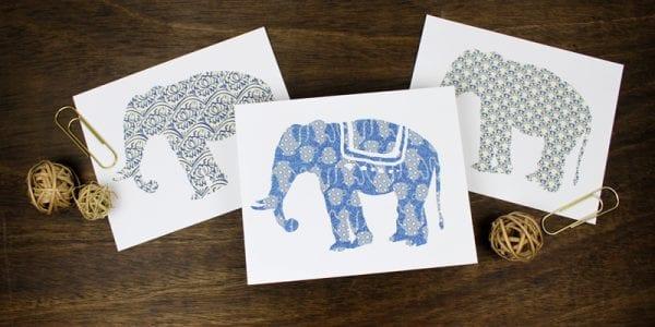 Indigo Blue Printable Elephant Art Set | designed by Paperelli for Remodelaholic.com