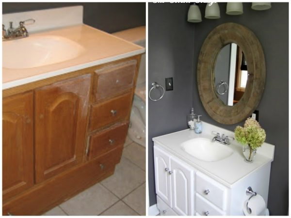 Granite gray bathroom makeover with white vanity, before and after The Corson Cottage on @Remodelaholic