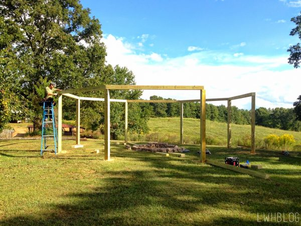 How to Build a Pergola with Lots of Seating by Little White House Blog featured on @Remodelaholic