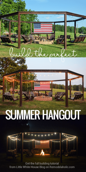 How to build a swingset pergola around a firepit, Little White House Blog on @Remodelaholic 2