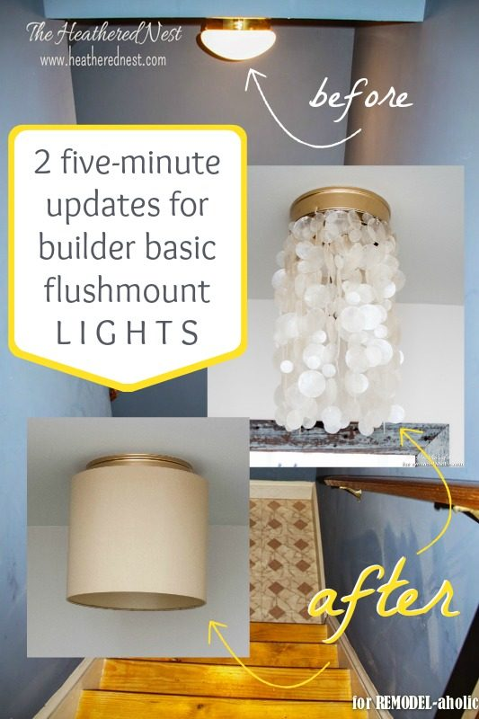 How to update a builder basic flushmount light - 2 ways @Remodelaholic