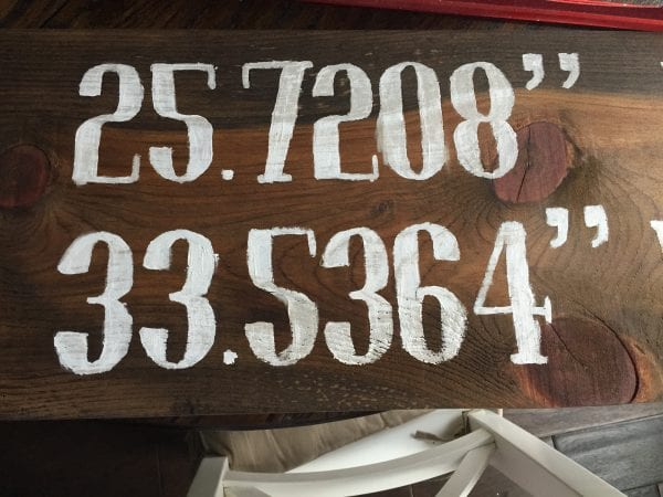 DIY Reclaimed Longitude/Latitude Sign| Finished Painted Letters