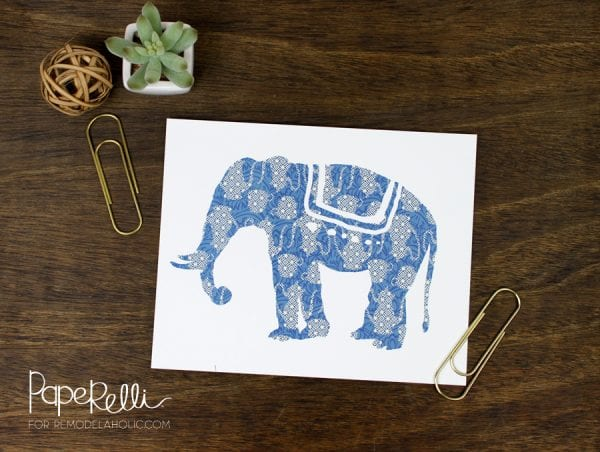 Indigo Blue Printable Elephant Art Set | designed by Paperelli for Remodelaholic.com