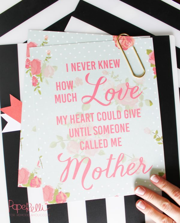 "Free printable Mother's Day quote ""I never knew how much love my heart could give until someone called me Mother"" -- Mother's Day Print by Paperelli for Remodelaholic.com"